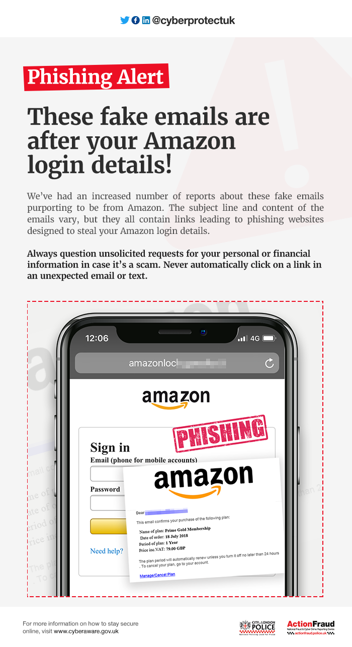 FAKE AMAZON EMAILS INTEND TO TRICK YOU INTO REVEALING YOUR LOGIN